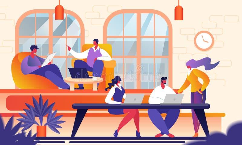 Kreatywnie młodzi ludzie w Nowożytnym Coworking biurze ilustracji