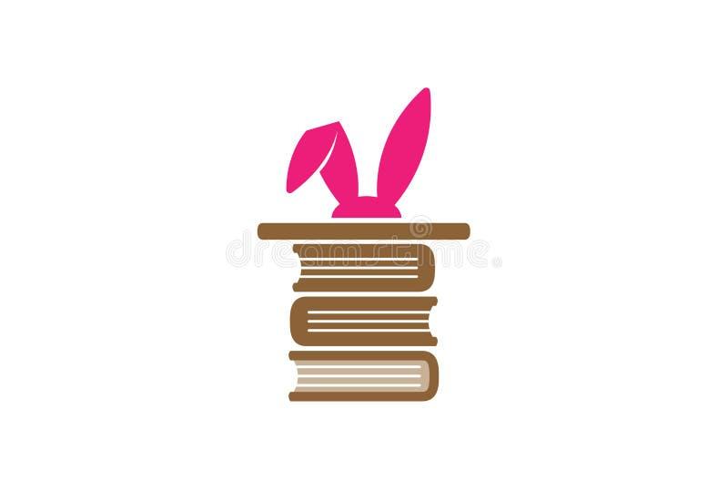 Kreatywnie Magiczny królików ucho biblioteki logo ilustracja wektor