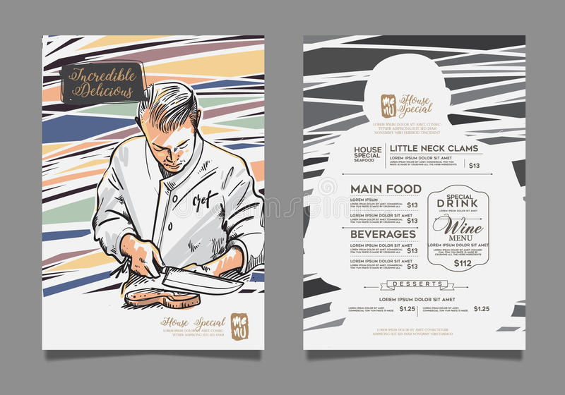 Kreatywnie menu projekt royalty ilustracja