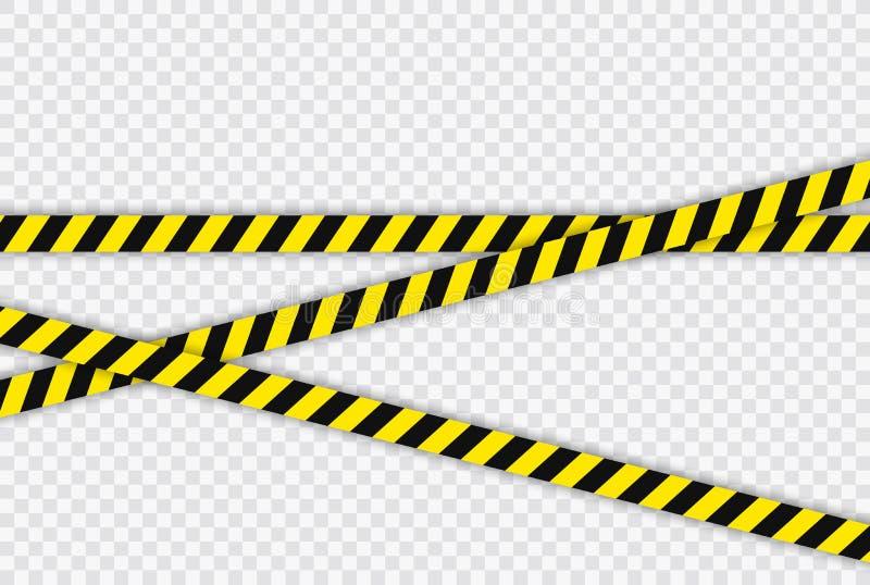 Kreatywnie Milicyjnej linii czerń i żółty lampas graniczymy Pojęcie barykada, niebezpieczeństwo i przestępstwo, Budowa znak wekto royalty ilustracja