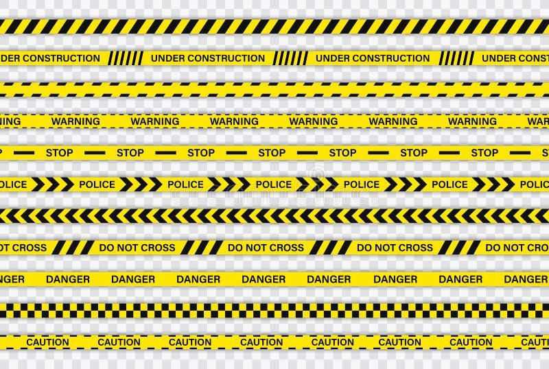Kreatywnie Milicyjnej linii czerń i żółty lampas graniczymy Policja, ostrzeżenie, W Budowie, no krzyżuje, zatrzymywać, niebezpiec ilustracji