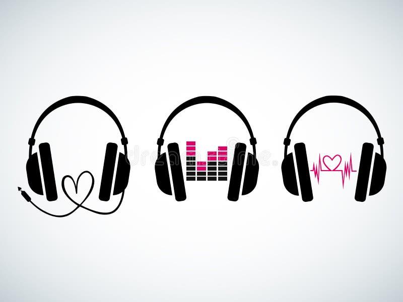Kreatywnie muzyczny hełmofonu loga set ilustracja wektor