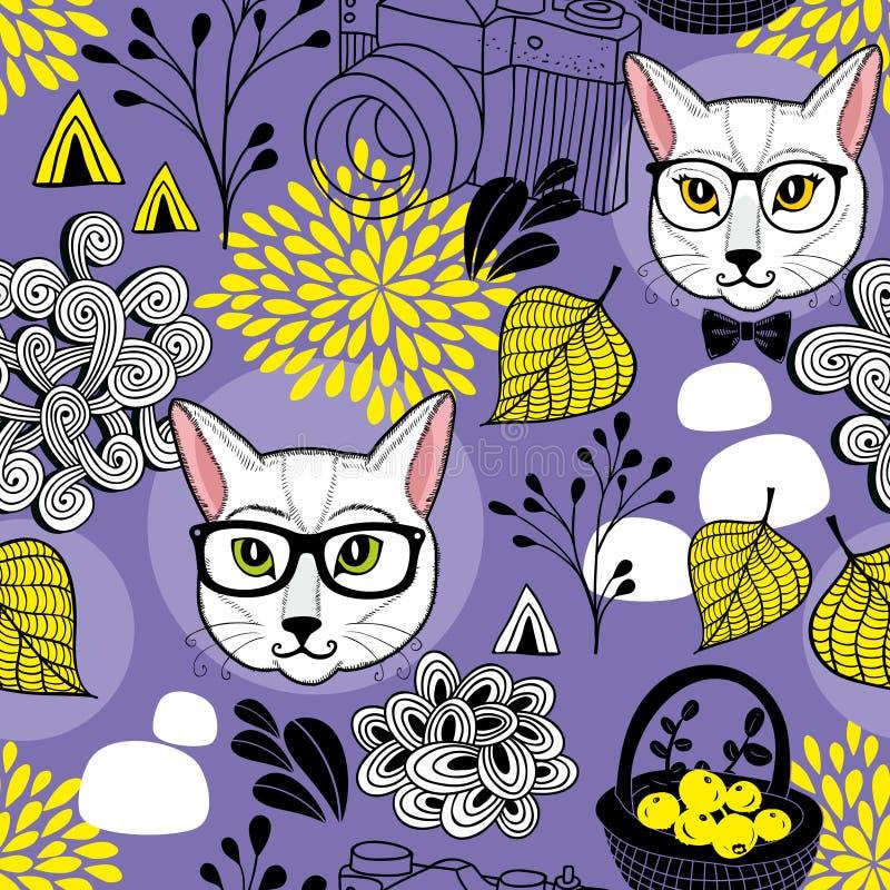 Kreatywnie niekończący się tło z mądrze jesień liśćmi i kotami ilustracji
