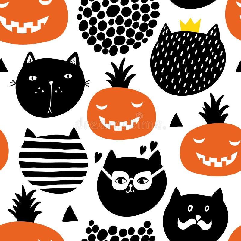Kreatywnie niekończący się wzór w scandinavian stylu z czarnymi kotami i baniami ilustracja wektor