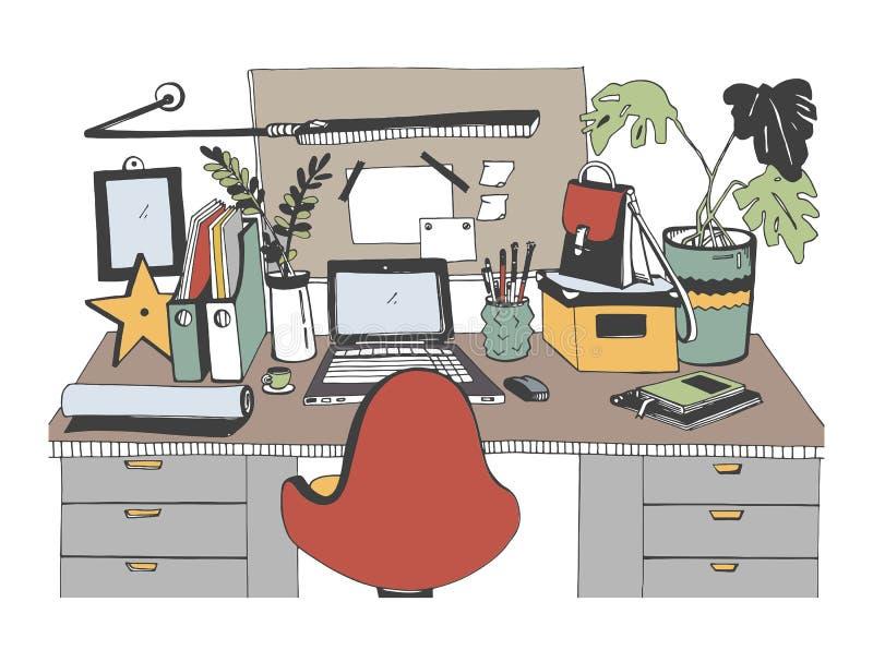 Kreatywnie nowożytny miejsce pracy z laptopem, ręka rysująca wektorowa ilustracja, nakreślenie styl ilustracji