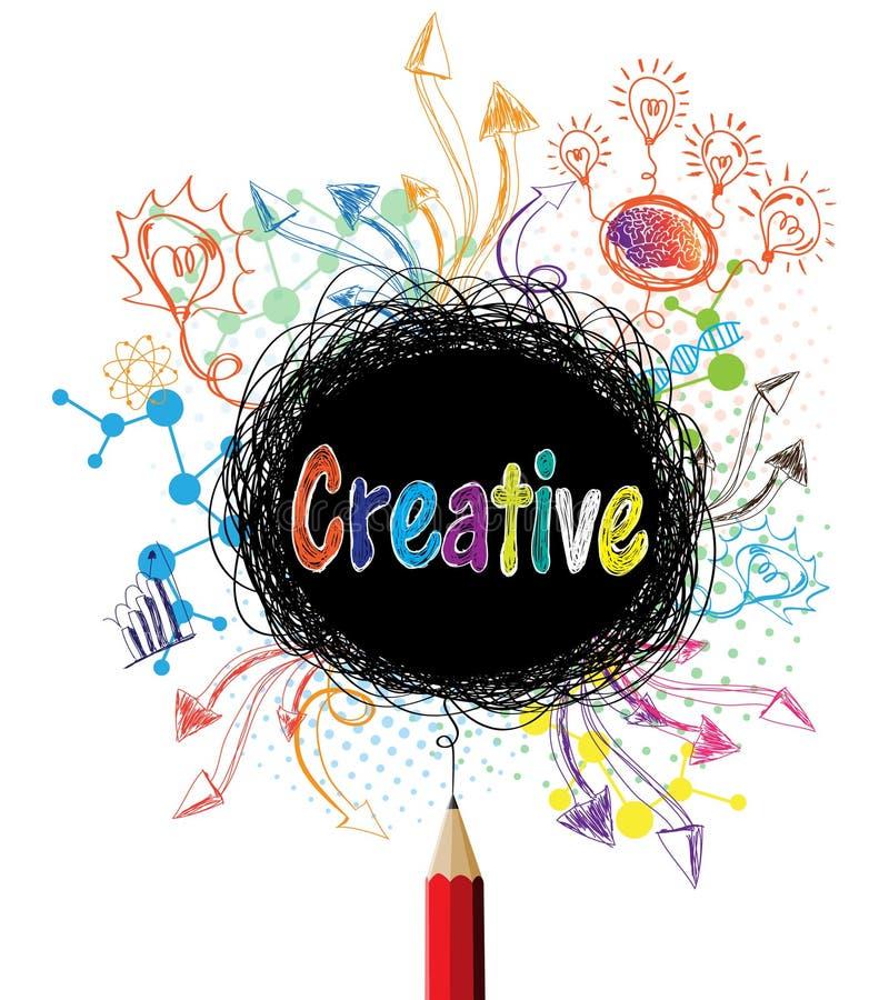 Kreatywnie ołówek projektuje kolorową pojęcie ilustrację ilustracji