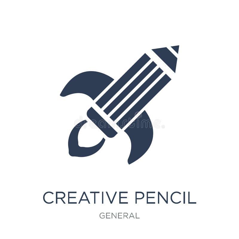 Kreatywnie ołówek rakiety ikona Modny płaski wektorowy kreatywnie ołówek royalty ilustracja