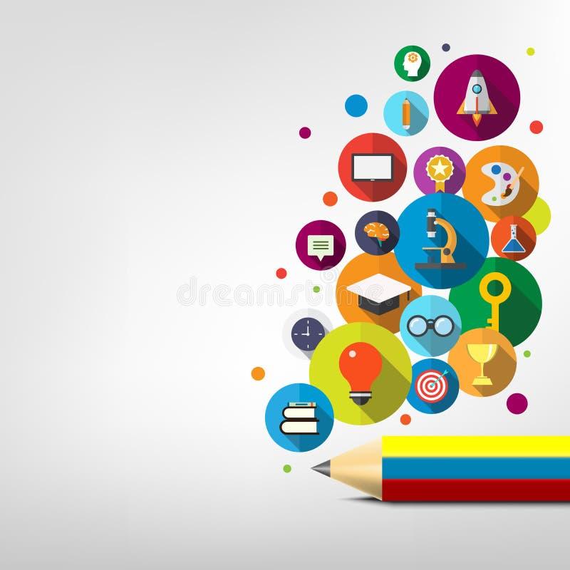 Kreatywnie ołówka i ikony edukacji pojęcie, uczy się kreatywnie projekt royalty ilustracja