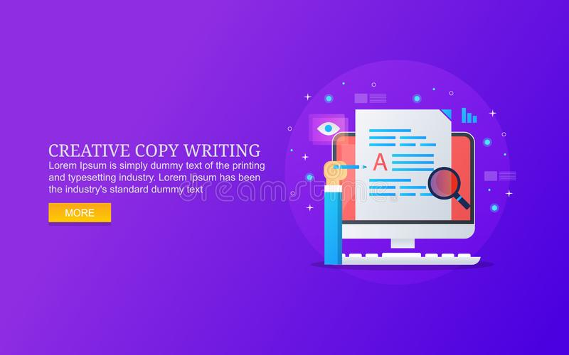 Kreatywnie odbitkowy pisać, zadowolony pisać, badanie, rozwój, hebluje dla ilości zawartości produkcji ilustracja wektor