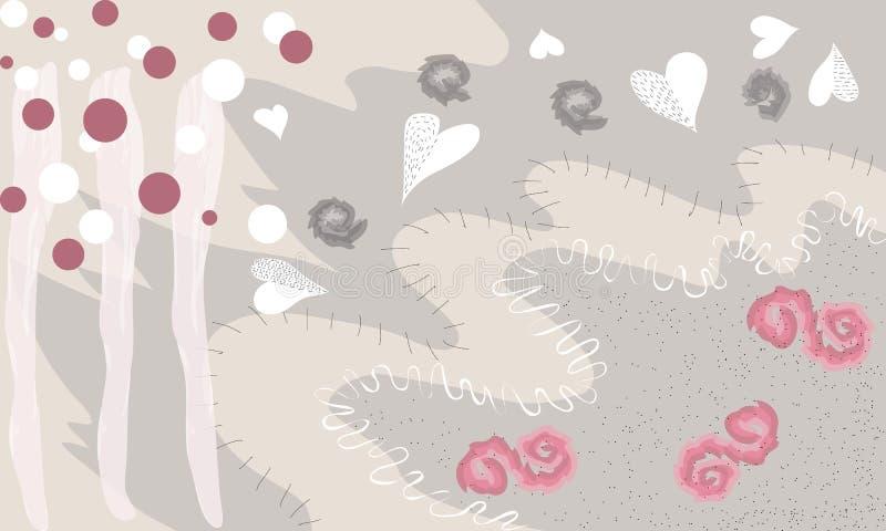 Kreatywnie ogólnoludzki artystyczny kwiecisty tło Ręki Rysować tekstury Modny Graficzny projekt dla sztandaru, plakat, karta, pok ilustracja wektor