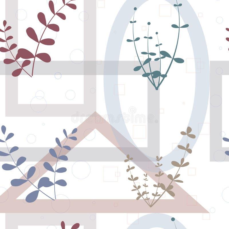 Kreatywnie og?lnoludzki kwiecisty bezszwowy deseniowy chodnikowiec w tropikalnym stylu Nowo?ytny graficzny projekt R?ki Rysowa? t ilustracji