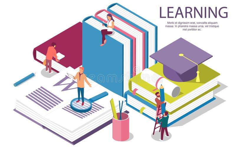 Kreatywnie płaskiego projekta isometric pojęcie edukacja ilustracji