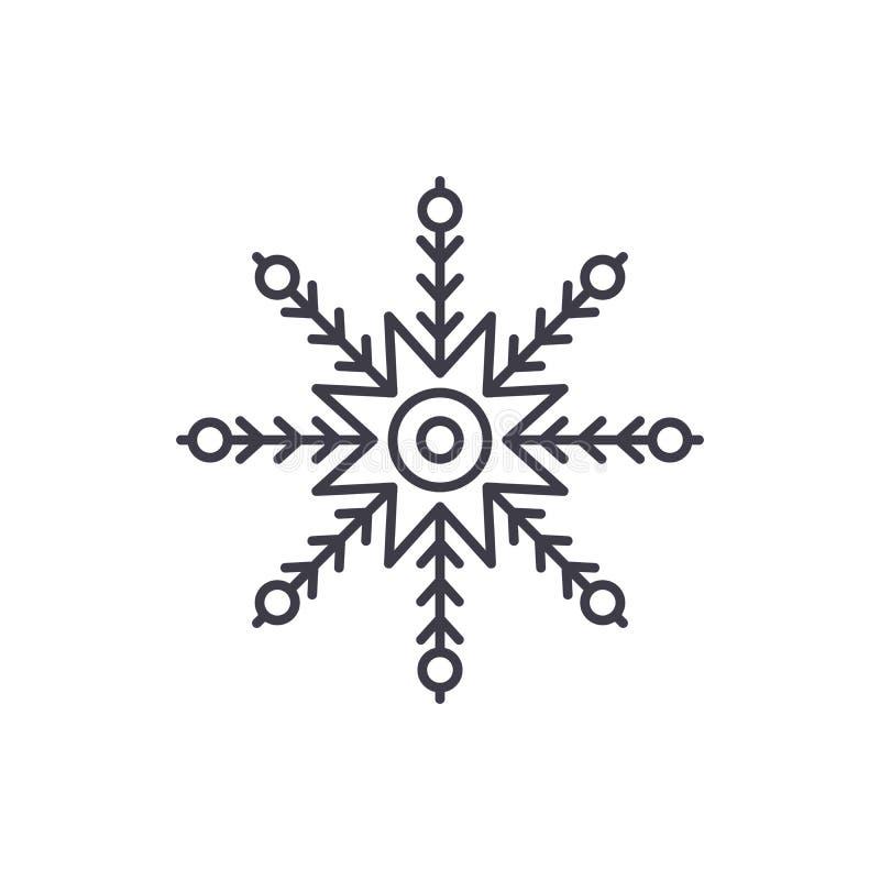 Kreatywnie płatek śniegu linii ikony pojęcie Kreatywnie płatek śniegu wektorowa liniowa ilustracja, symbol, znak royalty ilustracja