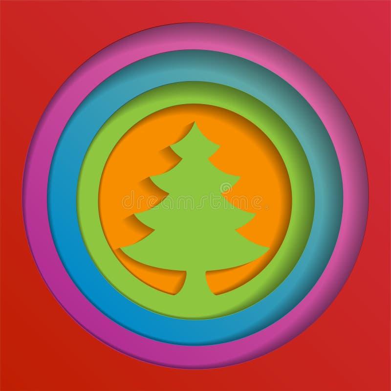 Kreatywnie papierowy abstrakcjonistyczny choinki tło, eps10 wektoru ilustracja ilustracja wektor
