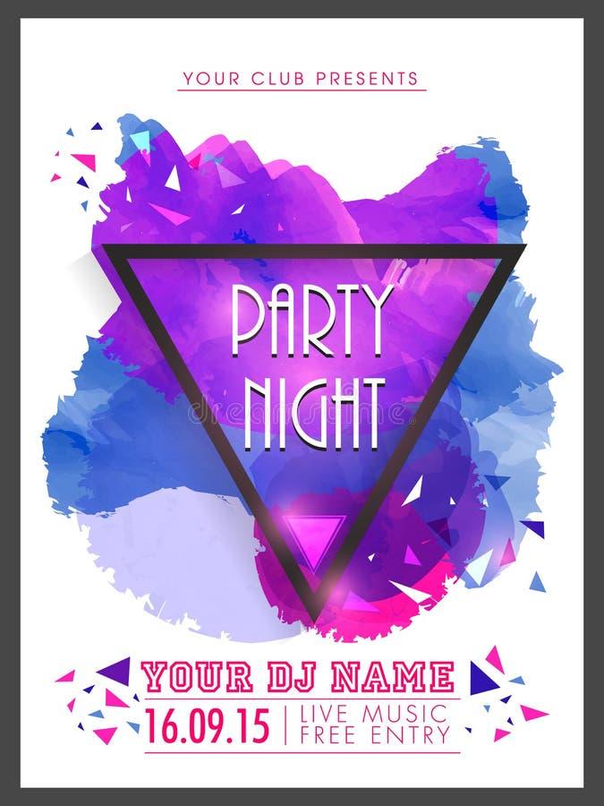 Kreatywnie Partyjni nocy ulotka, szablon lub sztandar, ilustracji