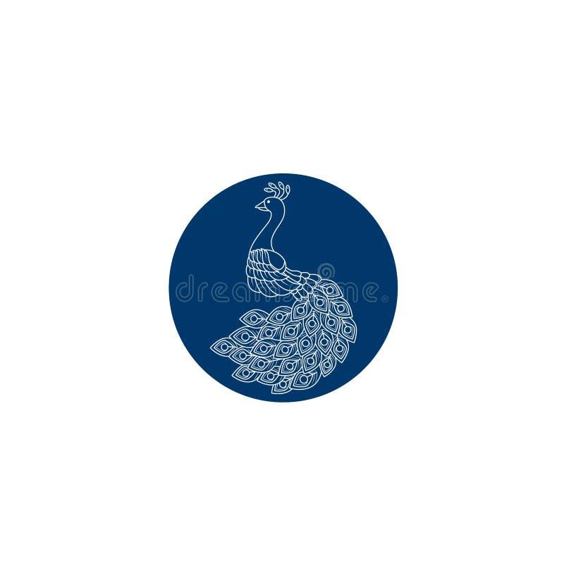 Kreatywnie Pawi loga projekta szablon Pawia logo ilustracja Z kreskową sztuką Luksusu styl Wektorowy ilustracyjny dekoracyjny pta ilustracja wektor