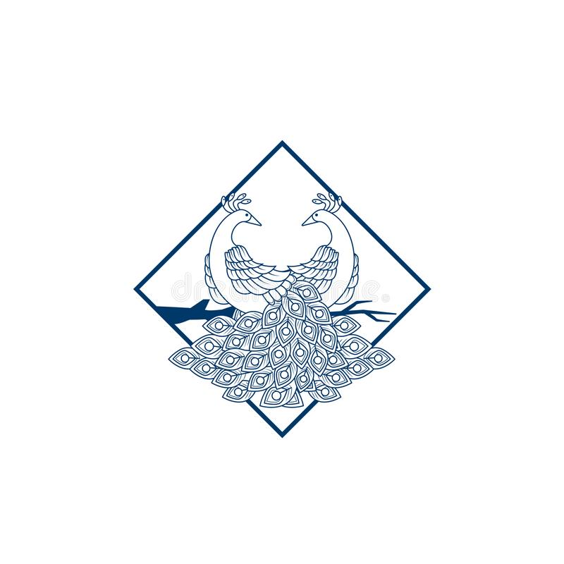 Kreatywnie Pawi loga projekta szablon Pawia logo ilustracja Z kreskową sztuką Luksusu styl Wektorowy ilustracyjny dekoracyjny pta ilustracji