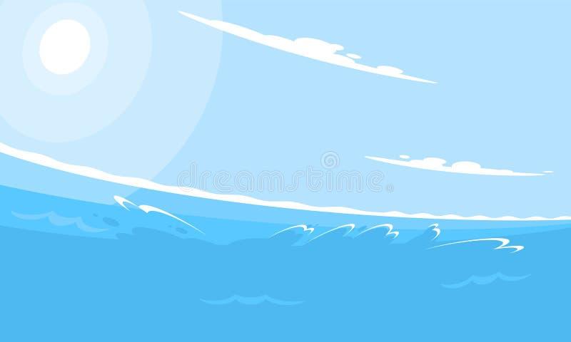 Kreatywnie perspektywiczny mieszkanie stylu morza tło Dynamiczny pogodny seascape z fal chmurami i jaskrawym światłem słonecznym ilustracja wektor