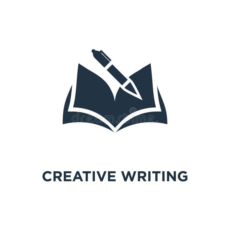 kreatywnie pisać i relacji ikona edukacji pojęcia symbolu projekt, rozpieczętowana książka, szkolna nauka, uczy się temat, recenz royalty ilustracja