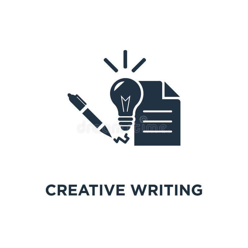 kreatywnie pisać i relacji ikona uczenie pojęcia symbolu kursowy projekt, edukacja przydział, krótki streszczenie, cienieje uderz ilustracji