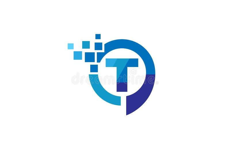Kreatywnie Pixelated T listu rozmowy okręgu bąbla logo projekta symbolu wektoru ilustracja ilustracji