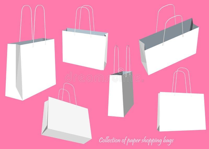 Kreatywnie pojęcia wektorowy ustawiający pusty torba na zakupy odizolowywający na białym tle Wektorowy ilustracyjny kreatywnie sz royalty ilustracja