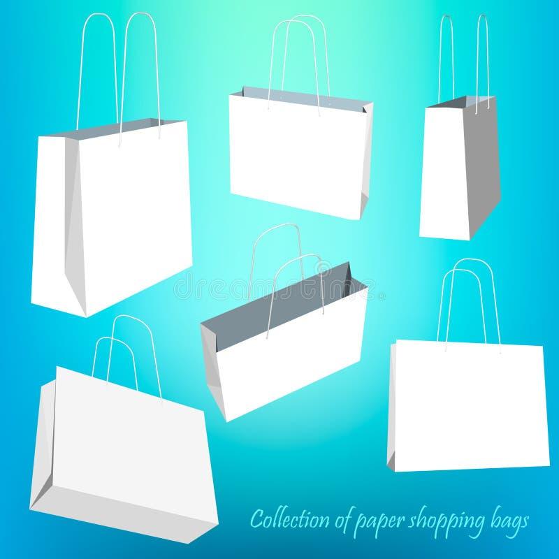 Kreatywnie pojęcia wektorowy ustawiający pusty torba na zakupy odizolowywający na białym tle Wektorowy ilustracyjny kreatywnie sz ilustracja wektor