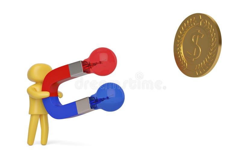 Kreatywnie pojęcie charakteru mienia magnes z żarówką przyciąga gola royalty ilustracja