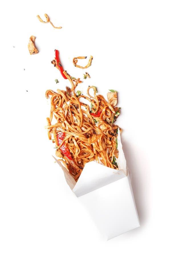 Kreatywnie pojęcie fast food Biały tło Odgórny wiev kosmos kopii obraz stock