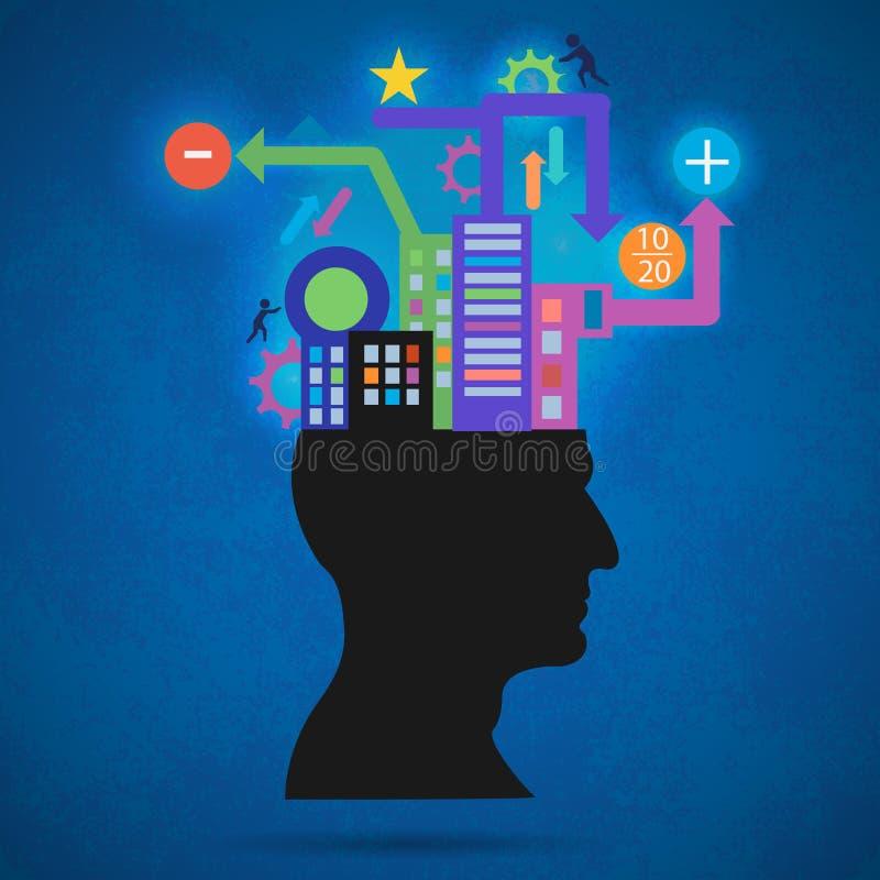 Kreatywnie pojęcie sylwetka głowa, mózg i pulsy, Proces ludzki główkowanie Pojęcie inteligencja royalty ilustracja