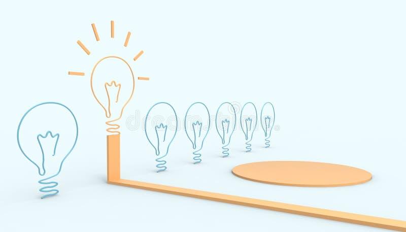 Kreatywnie pomysł żarówki pojęcia inspiracji biznesowej sztuki stylowego i nowożytnego projekta układu pasty Błękitny tło ilustracji