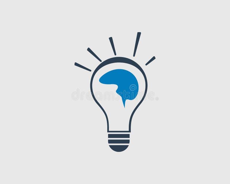 Kreatywnie pomysł ikona Ludzki mózg na żarówce royalty ilustracja