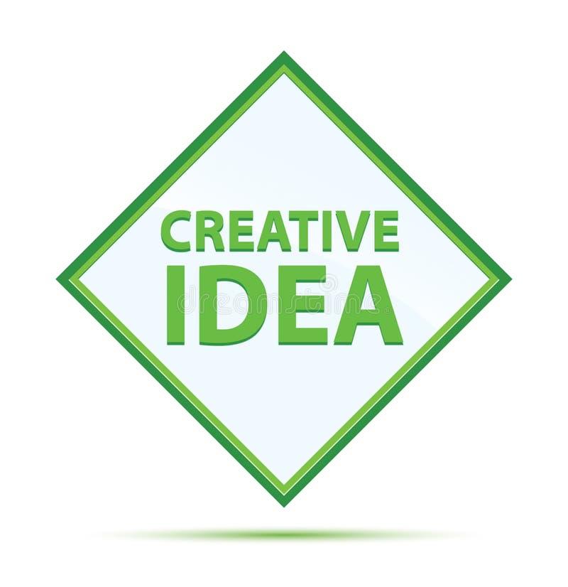 Kreatywnie pomysłu abstrakta nowożytnej zieleni diamentowy guzik ilustracji