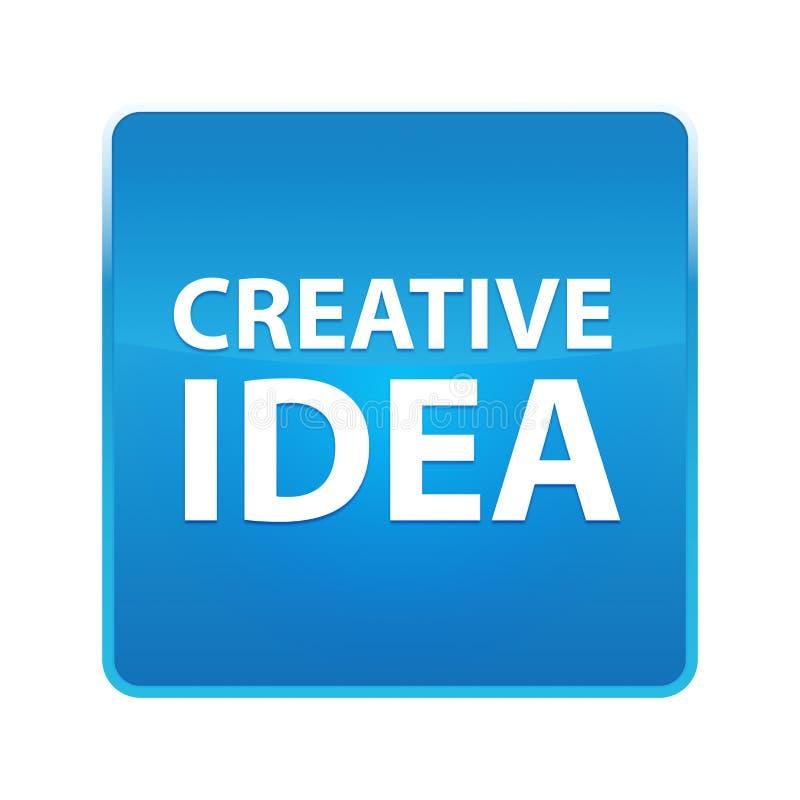 Kreatywnie pomysłu błękita kwadrata błyszczący guzik ilustracji