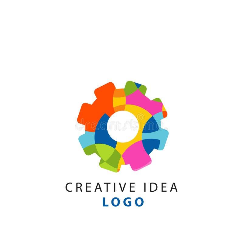 Kreatywnie pomysłu loga geometryczny szablon z abstrakcjonistyczną kolorową przekładnią Myślący cogwheel mechanizmu pojęcie Wekto royalty ilustracja