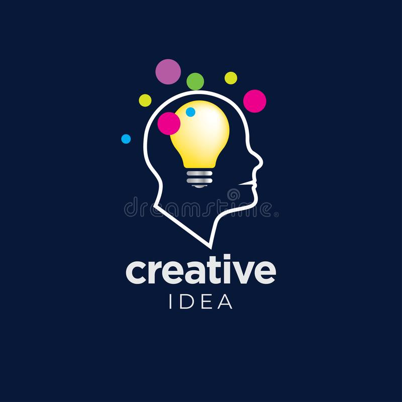 Kreatywnie pomysłu logo szablon z żarówką royalty ilustracja