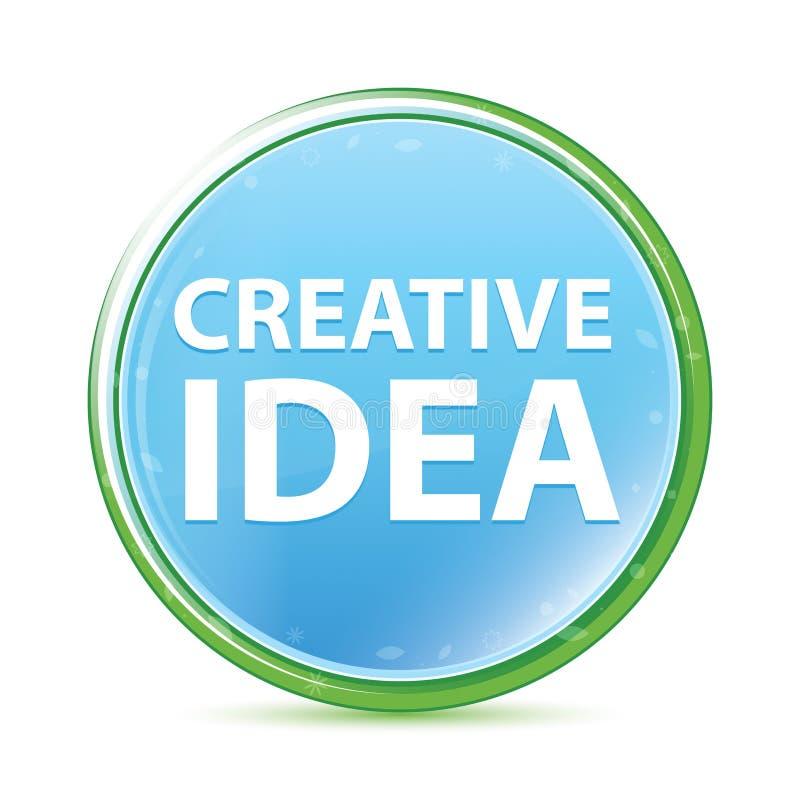 Kreatywnie pomysłu naturalnego aqua round cyan błękitny guzik ilustracja wektor