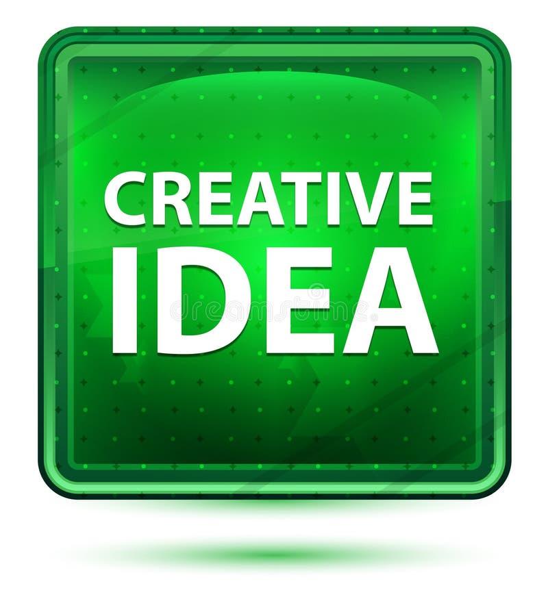 Kreatywnie pomysłu Neonowy Jasnozielony Kwadratowy guzik royalty ilustracja
