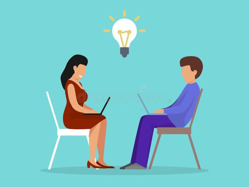 Kreatywnie pomysłu pojęcie dwa peoplw obsiadanie z laptopem i brainstorming strategii energicznej przywódctwo wektoru ilustracją royalty ilustracja