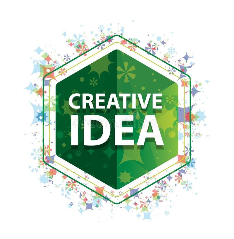 Kreatywnie pomysłu rośliien wzoru zieleni sześciokąta kwiecisty guzik ilustracja wektor