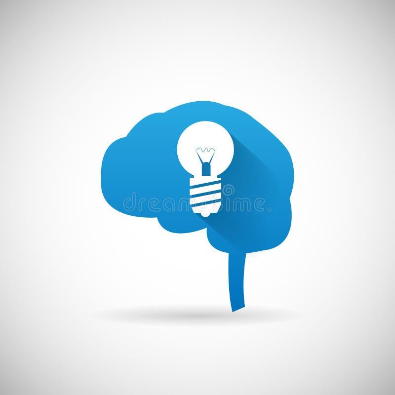 Kreatywnie pomysłu symbolu lightbulb i mózg sylwetki ikona Projektuje szablonu wektoru ilustrację ilustracja wektor