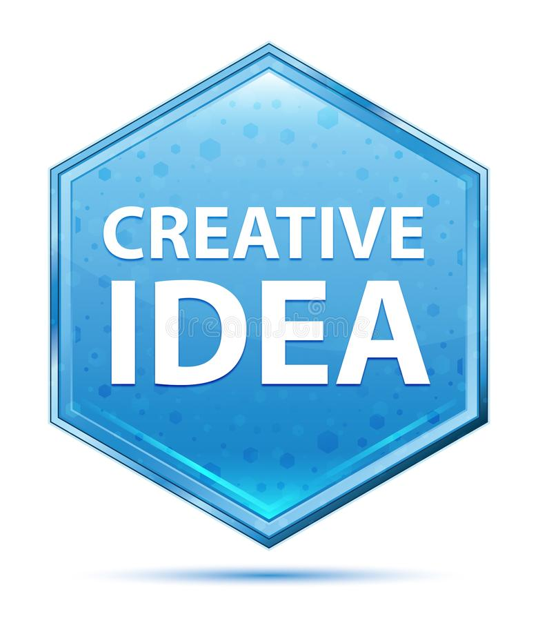 Kreatywnie pomysłu sześciokąta krystaliczny błękitny guzik ilustracja wektor