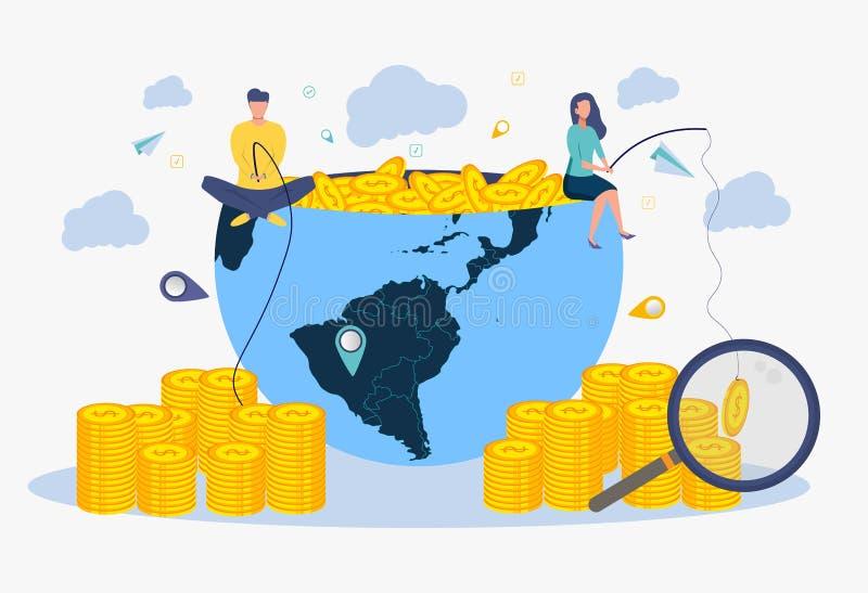 Kreatywnie pomysłu zabatka Metafora pomyślny biznes Ludzie chwyta pieniądze na popasie ilustracja wektor