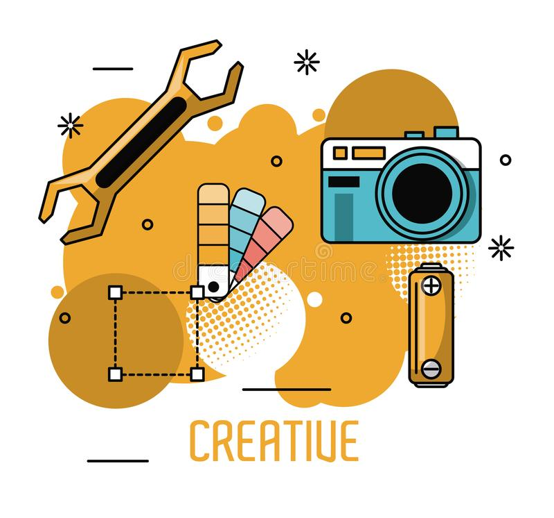 Kreatywnie pomysły i kolory ilustracja wektor