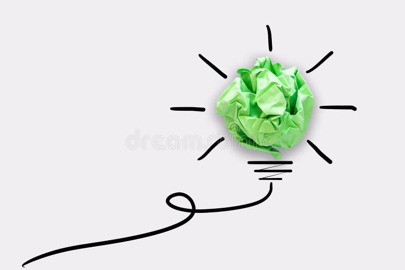 Kreatywnie pomys? w?adzy My?l?cy poj?cie, Papierowy lightbulb projekt Z Graficznego rysunku uderzenia lini? Brainstorming inspira royalty ilustracja