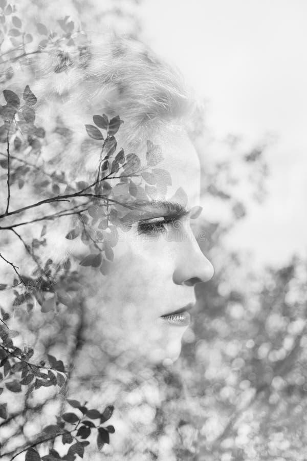 Kreatywnie portret robić od dwoistego ujawnienia skutka piękna młoda kobieta używać fotografię drzewa, liście i natura, obraz royalty free