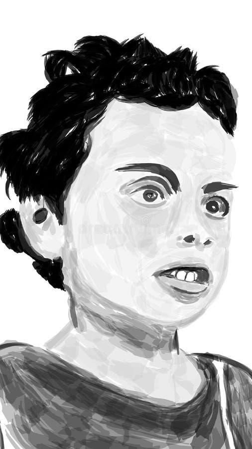 Kreatywnie portreta remis Czarny i biały portreta remis ilustracja wektor