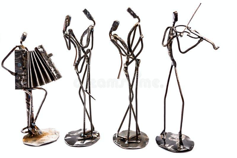 Kreatywnie postacie muzycy, skrzypaczka i akordeonista, są pl obraz stock