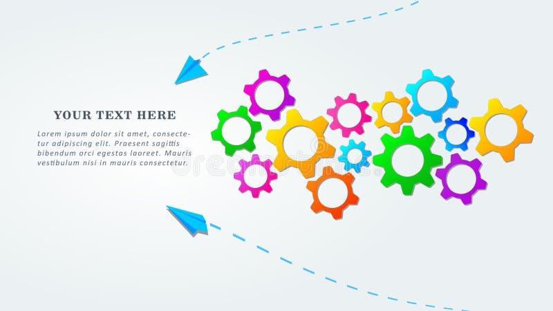 Kreatywnie praca zespołowa sztandaru projekt z kolorowymi przekładni ikonami Pomys? partnerstwo i wsp??praca royalty ilustracja