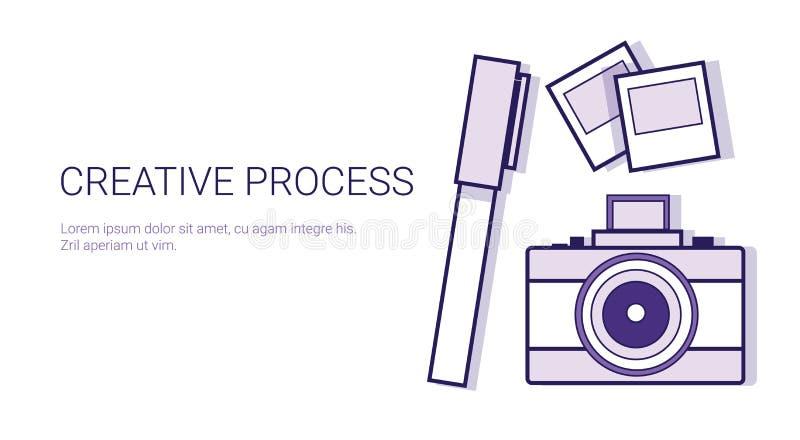 Kreatywnie Proces Biznesowy pojęcie szablonu sieci sztandar Z kopii przestrzenią ilustracji